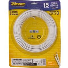 Cordão Paralelo 300v 1,5mm² Flexicom com 15 Metros Branco - Cobrecom