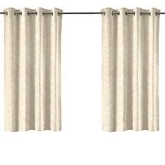 Cortina em Poliéster com Ilhos em Metal Bloom Bege 300x180cm - Evolux