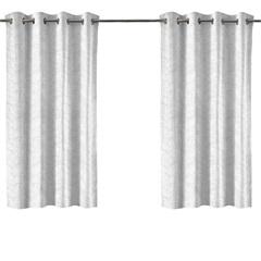 Cortina em Poliéster com Ilhos em Metal Bloom Branca 300x180cm - Evolux