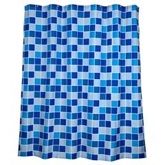 Cortina para Box de Banheiro Ladrilhos 180x180cm Azul - Casanova