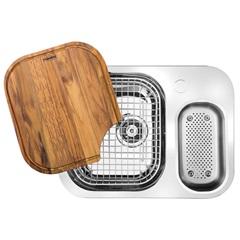 Cuba Dupla de Embutir para Cozinha Retangular em Inox com Acessórios Quinline 40x59,5cm Alto Brilho - Franke