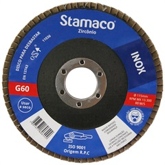 Disco Flap para Inox 115x22,23mm Grão 60 - Stamaco