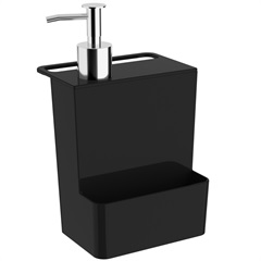 Dispenser para Detergente E Esponja Multi Glass de 600ml Preto - Coza