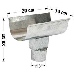 Emenda para Calha com Bocal Platibanda Galvanizada 28cm