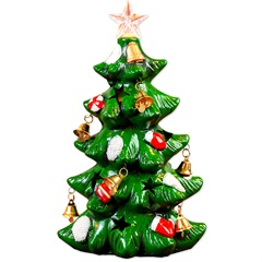 Enfeite em Cerâmica Árvore de Natal Verde E Vermelho - Casa Etna
