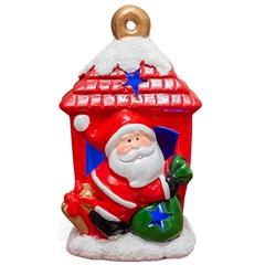 Enfeite em Cerâmica Papai Noel Capela Vermelho E Verde - Casa Etna