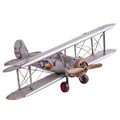 Enfeite em Ferro Avião Fighter 11x34,5cm Prata - Casa Etna