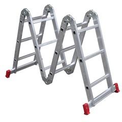 Escada Articulada 4x3 em Alumínio com 12 Degraus Prata - Botafogo