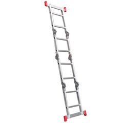 Escada Articulada em Alumínio 2x4 com 8 Degraus Cinza E Vermelho - Botafogo
