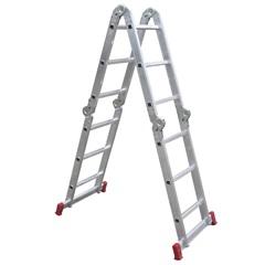 Escada Articulada em Alumínio 4x3 com 12 Degraus Cromada - Botafogo
