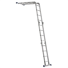 Escada Articulada em Alumínio 4x4 com 16 Degraus Cromada E Azul - MOR
