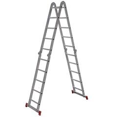 Escada Articulada em Alumínio 5x4 com 20 Degraus Cinza E Vermelho - Botafogo