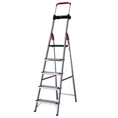 Escada Comfort com 5 Degraus em Alumínio Prata, Vermelho E Preto - Alumasa