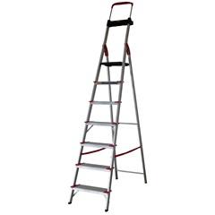 Escada Comfort com 7 Degraus em Alumínio Prata, Vermelho E Preto - Alumasa