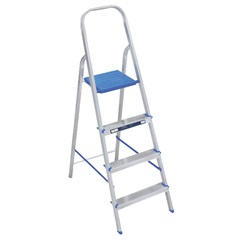 Escada Doméstica com 4 Degraus em Alumínio Prata E Azul - Alumasa