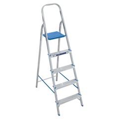 Escada Doméstica com 5 Degraus em Alumínio Prata E Azul - Alumasa