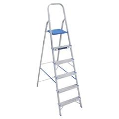 Escada Doméstica com 6 Degraus em Alumínio Prata E Azul - Alumasa