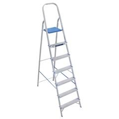 Escada Doméstica com 7 Degraus em Alumínio Prata E Azul - Alumasa