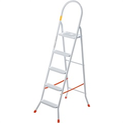 Escada Doméstica em Aço com 5 Degraus Branca - Utimil