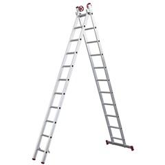 Escada em Alumínio Extensiva 11x2 com 22 Degraus Cinza - Botafogo