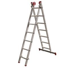 Escada em Alumínio Extensiva 7x2 com 26 Degraus Cinza - Botafogo