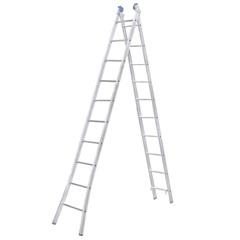 Escada Extensiva com 10 Degraus em Alumínio Azul E Prata - Alumasa