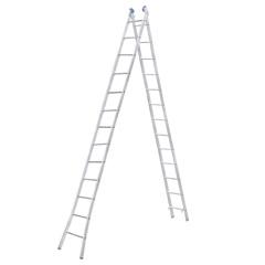 Escada Extensiva com 13 Degraus em Alumínio Azul E Prata - Alumasa