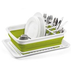 Escorredor de Louça em Silicone Flexível para 16 Pratos Verde E Branco - Sanremo