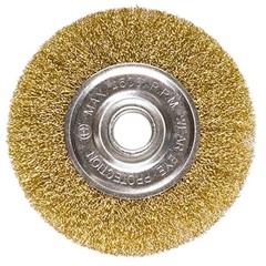 Escova Circular em Aço 150mm com Furo de 22mm Dourada - MTX