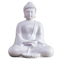 Escultura Buda 12cm Branca - Casa Etna
