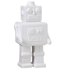 Escultura Decorativa em Cerâmica Robot 26x13cm Branca - Casa Etna