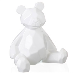 Escultura Decorativa em Cerâmica Teddy 19x18cm Branca - Casa Etna