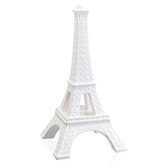 Escultura Decorativa em Cerâmica Torre Eiffel 39cm Branca - Casa Etna