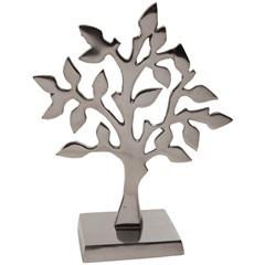 Escultura em Alumínio Árvore Liat 26cm Prata - Casa Etna
