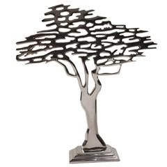 Escultura em Alumínio Árvore Liat 42cm Prata - Casa Etna