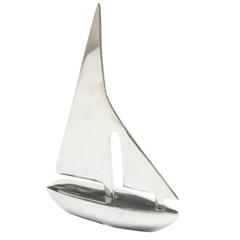 Escultura em Alumínio Barco Liat 25cm Prata - Casa Etna