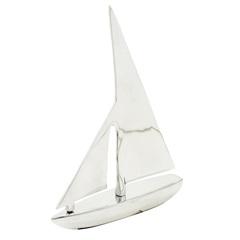 Escultura em Alumínio Barco Liat 39cm Prata