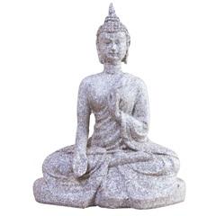 Escultura em Resina Buda Sentado 15,5x12cm Cinza - Casa Etna