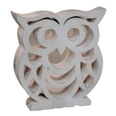 Escultura Oriental Coruja 25x5cm Branco - Casa Etna