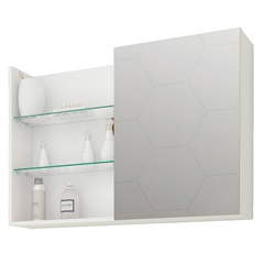 Espelheira Suspensa para Banheiro Jasmim 54x80cm Branco - MGM