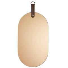 Espelho com Alça em Couro Oval 37x18cm Cobre - Mart