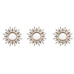 Espelho de Parede Redondo com 3 Peças Soleil 25x25cm Ouro - Evolux