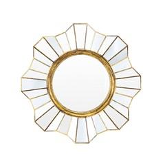 Espelho de Parede Redondo Flower 39x39cm Ouro Velho - Evolux