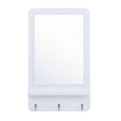 Espelho de Parede Retangular com 3 Ganchos Hook 51x31cm Branco - Evolux