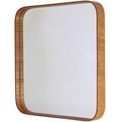 Espelho Quadrado com Moldura em Madeira 50x50cm Mogno - Formacril