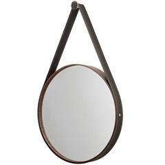 Espelho Redondo com Moldura E Cinta de Couro 46cm Imbuia - Formacril