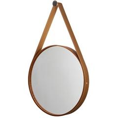 Espelho Redondo com Moldura E Cinta de Couro 46cm Mogno - Formacril