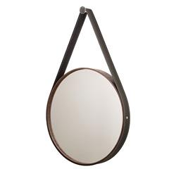 Espelho Redondo com Moldura E Cinta de Couro 56cm Imbuia - Formacril