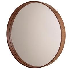 Espelho Redondo com Moldura em Madeira 35cm Imbuia - Formacril