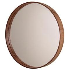 Espelho Redondo com Moldura em Madeira 45,5cm Imbuia - Formacril